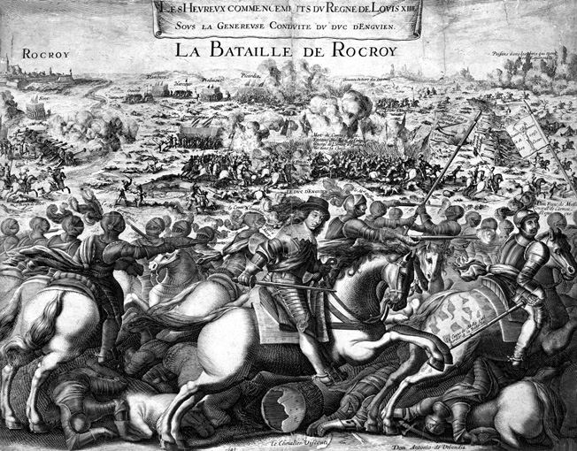 BATTLE OF ROCROI, 1643. The Battle of Rocroi during the Thirty Years' War, 19 May 1643. Louis de Bourbon, Prince of CondÈ, foreground center, led the French to victory over the Spanish. Contemporary French engraving.