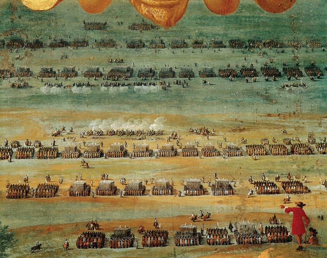 "Thirty Years' War. Battle of Rocroy (1643). Formed troops. Detail. Painting. FRANCE. Versailles. National Museum of Versailles. ©BeBa/Iberfoto / The Image Works NOTE: The copyright notice must include ""The Image Works"" DO NOT SHORTEN THE NAME OF THE COMPANY"