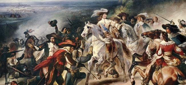 Mounted on his white charger, Duke Louis II d'Enghien, attempts to stop his men from cutting down Spanish troops who have already surrendered at Rocroi.