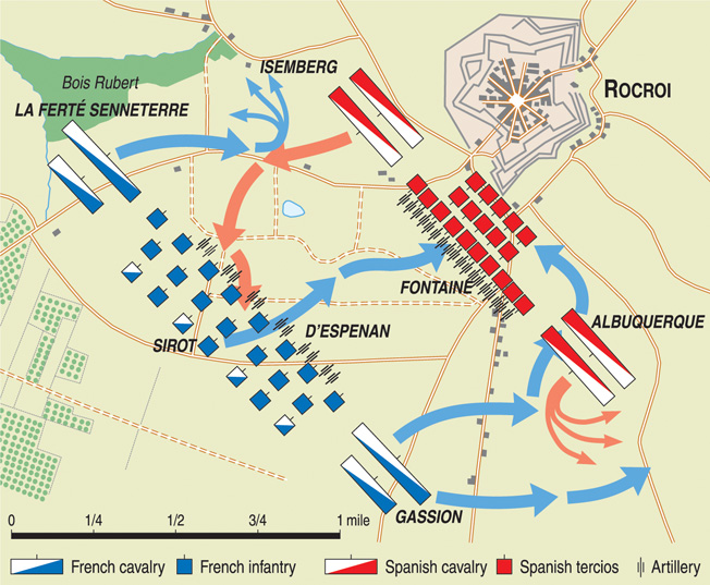 The four-mile-wide plateau between the Oise and Meuse Rivers formed the battleground at Rocroi. Superior mobility on both flanks allowed the French to win the day.
