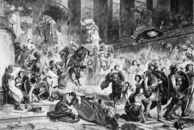 Alaric's Goth army storms the streets of Rome during a brutal sacking of the city that would last for three days. The worst offenders would be the mercenary Huns.