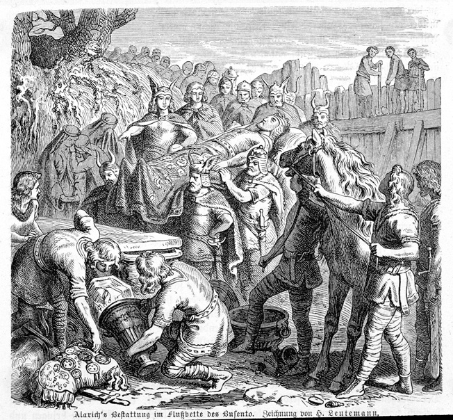 Falling victim to a fatal case of fever shortly after sacking Rome, Alaric's lifeless body is moved to the Busento riverbed for burial. Insure secrecy, the slaves who buried him were killed.