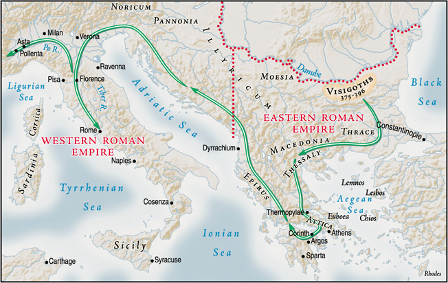 Following the death of Emperor Theodorius, angry Goths swept southward across the Danube River through Macedonia and Thrace, then moved east to Constantinople.