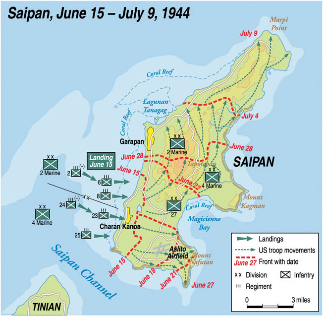 Following their initial landings on the western beaches of Saipan, U.S. forces fanned out for the arduous battle that followed. In just over three weeks, the strategically important island in the Marianas archipelago was secured.