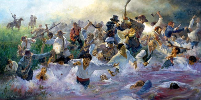 The Texian victory was marred by the slaughter of Mexican soldiers who tried to surrender. General Houston tried but failed to stem the frenzied killing that resulted in the death of more than half of Santa Anna's army.