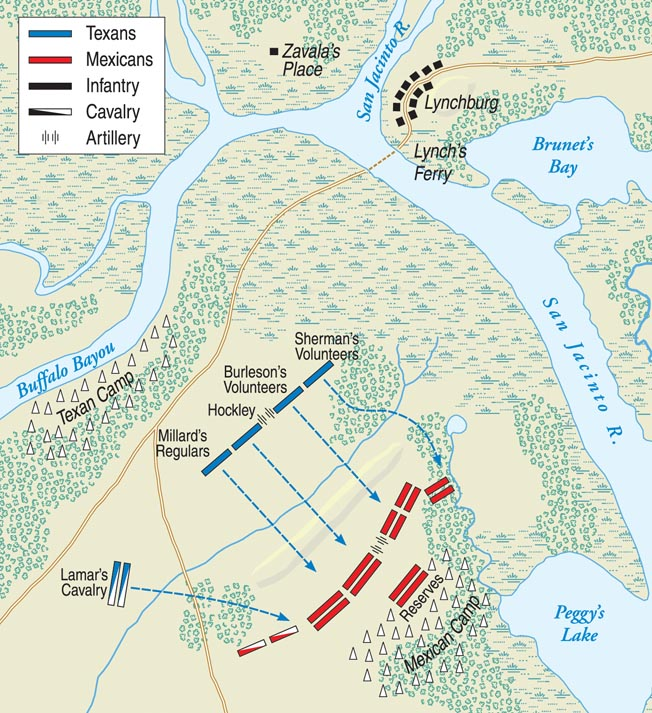 San Jacinto was a small, grassy expanse barely three square miles in size. Neither the San Jacinto River nor the Buffalo Bayou was fordable and, therefore, escape under fire was nearly impossible.