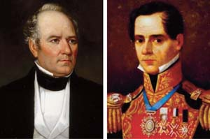 General Sam Houston (left) had exemplary leadership skills but was at the core a politician, while General Antonio Lopez de Santa Anna had extensive military experience having fought Spanish, French, and American foes.