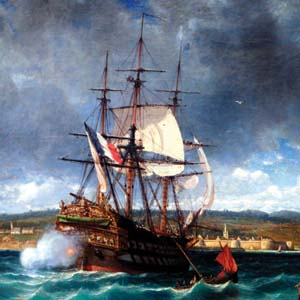 A French ship of the line enters the port of San Domingo on the south side of Hispaniola Island. Although the French vessels were well armed, a great proportion of their crews were landsmen recently conscripted by Napoleon's regime.