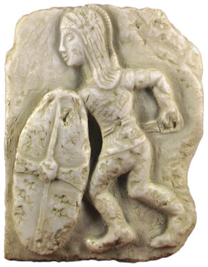 A period relief shows a Spanish infantryman carrying a large shield and a curved sword during the Second Punic War.