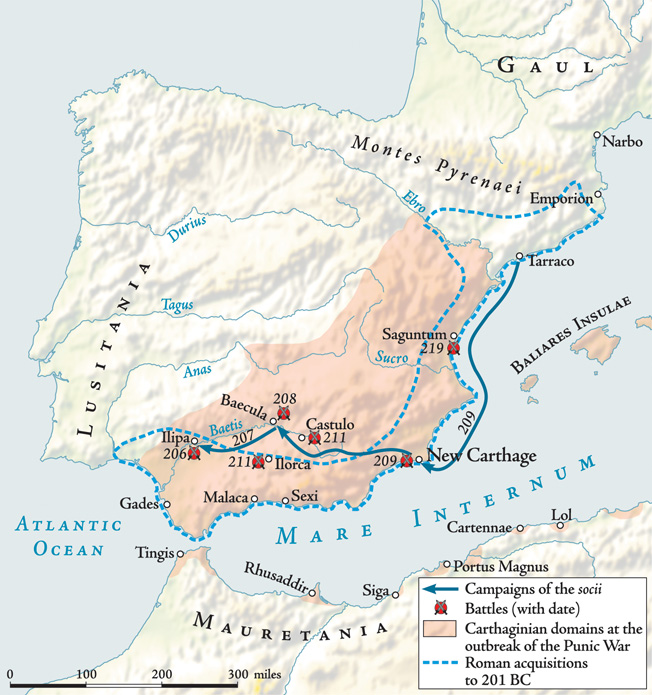 Young Roman General Scipio mounted a complex land and sea assault on the Carthaginian stronghold at New Carthage, then swept westward across southern Spain to Ilipa.