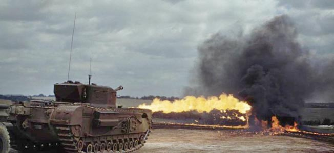 The Crocodile's flamethrower was connected to an armored trailer that carried 400 gallons of flammable fuel.