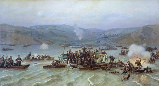 Russian troops cross the Danube River into Turkish-occupied Bulgaria under heavy fire from Ottoman forces on June 15, 1877.