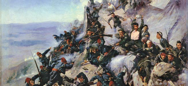 A contemporary painting of the Battle of Shipka Pass shows Russian troops fending off a desperate attack by the Turks. Russian General Mikhail Skobelev distinguished himself during the Russo-Turkish War of 1877-1878 by capturing the strategic mountain pass.