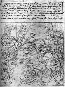 A contemporary illustration of the battle captures some of the confused fighting at Shrewsbury, as well as the importance of the king's archers to his victory.