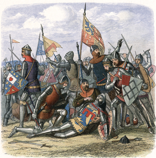 The death of Henry Percy (Harry Hotspur) at the Battle of Shrewsbury, 21 July 1403. Line engraving, c1860.