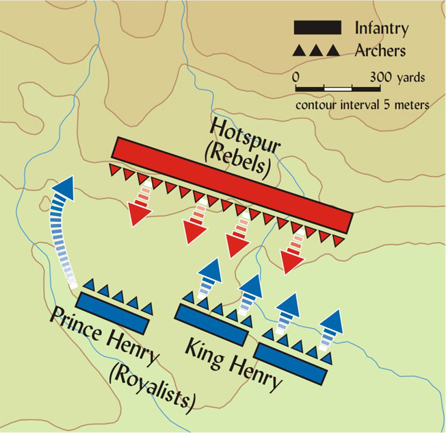 "Prince Henry (later Henry V) led a flank attack on the rebel position after Harry ""Hotspur"" Percy fell."