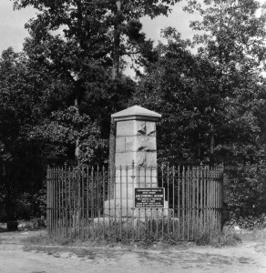 Monument marking the spot where Jackson was mortally wounded at Chancellorsville, May 2, 1863.