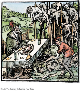 A ghoulish Vlad Tepes (the Impaler) lives up to his fearsome image as he feasts amid his victims in the 15th-century German woodcut.