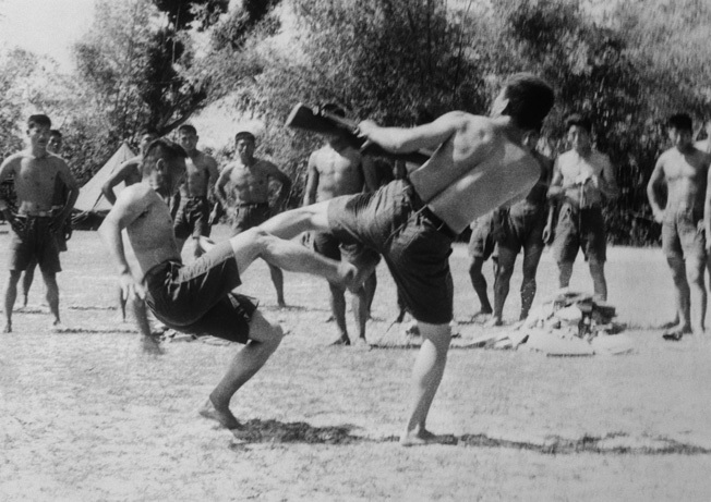 Koreans in the 2nd Marine Brigade, the Blue Dragons, practice Tae Kwon Do during a morning exercise near Qui Nohn, South Vietnam, in April 1966.