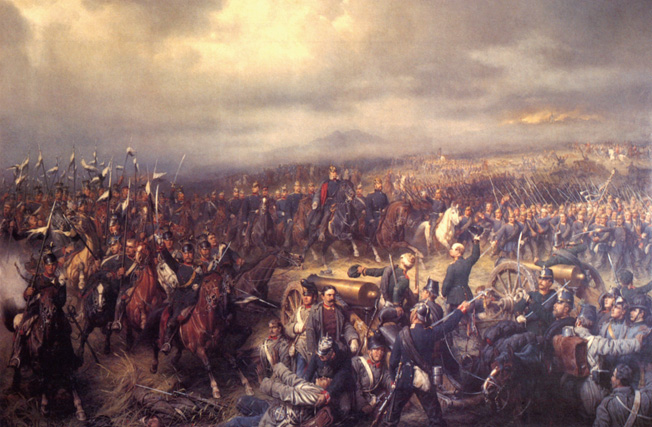 At the Battle of Sadowa, on July 3, 1866, the better organized Prussians decidedly defeated the Austrian Army and won the Seven Weeks' War.