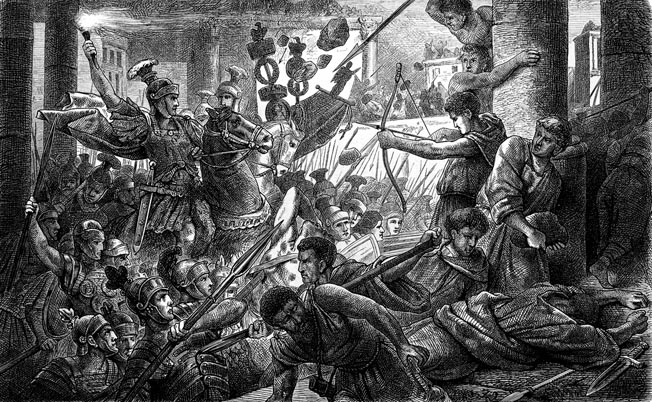 Sulla's legionnaires battle the Marians in Rome during Sulla's First Civil War. At the outset of his journey east to wage war against Mithridates of Pontus, Consul Sulla turned back to Rome to quell disturbances by force.