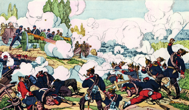 Prussians attack French artillery at the battle of Gravelotte Saint-Privat during the Franco-Prussian War of 1870. Following the capture of Napoleon III at Sedan and the bombardment of Paris, the French empire fell to King Wilhelm's Prussians.