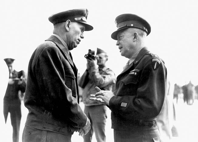 Marshall, right, visits with General Dwight D. Eisenhower in Paris following the liberation of the City of Light from Nazi occupation in August 1944.