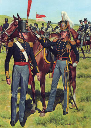 Members of the 1st Regiment of Dragoons sport regulation 1833 uniforms in this paint- ing by Charles McBarron. In reality, uniforms and provisions were slow in coming.