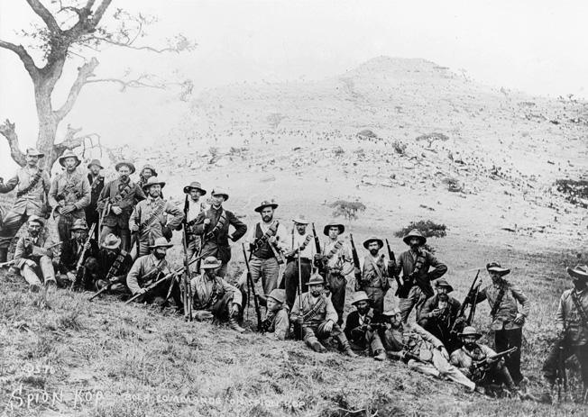 A Boer commando unit poses for a photo in front of Spion Kop. Aside from being skilled fighters, they also had intimate knowledge of South African terrain.