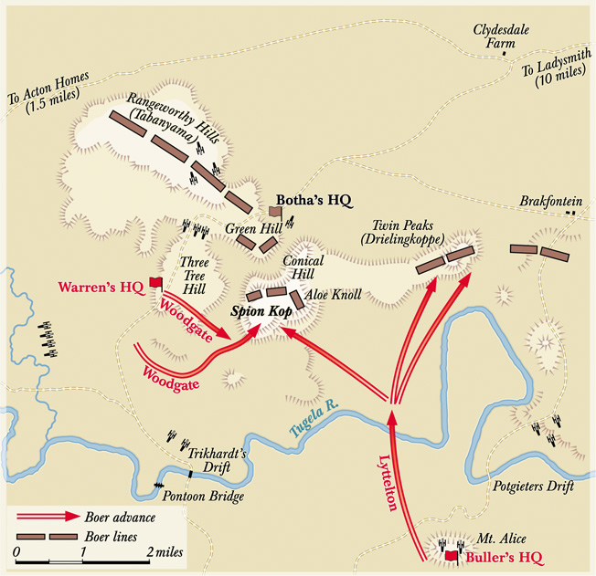 Lt. Gen. Charles Warren wanted to bombard Boer positions on Tabanyama Ridge before launching his main assault. He was overruled by General Sir Redvers Buller who was stationed several miles to the rear.