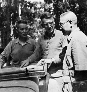 Stitwell, center, maps out strategy with his two top Chinese commanders, General Sun Li-jen of the 38th Division and Liao Yaohsiang of the 22nd.
