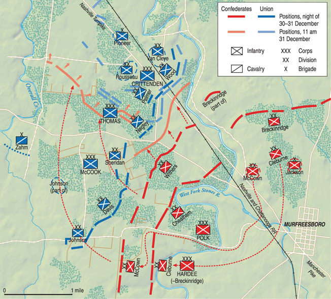 Fighting at Stones River centered on the macadamized Nashville Turnpike and the Nashville and Chattanooga Railroad, which ran parallel to the pike. Confederate efforts concentrated on getting behind the Union army and the two thoroughfares.