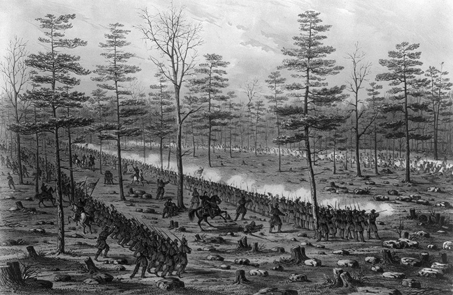 Brigadier General Samuel Beatty's Union brigade sweeps through the denuded forest at Stones River.