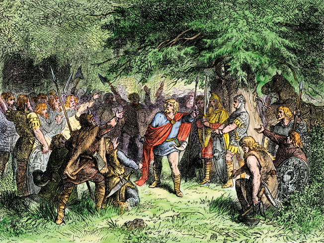 Widukind rallies foot soldiers armed with spears and axes to fight against Charlemagne's better equipped forces.