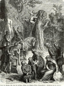 harlemagne oversees the destruction of the Irminsul, the principal pagan shrine, in a 19th-century illustration. Christian missionaries were protected by Carolingian troops as they went about their dangerous work.