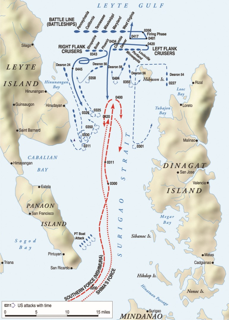 "During the Battle of Surigao Strait, American Rear Admiral Jesse Oldendorf executed the classic naval maneuver of crossing his enemy's ""T."" The American battle line under Oldendorf was able to fire full broadsides at the Japanese, who could only reply initially with forward guns."