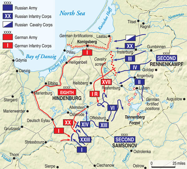 The Russian invasion of East Prussia in August 1914 was going well until German Generals Paul von Hindenburg and Eric Ludendorff took command.