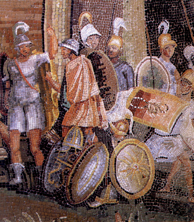 Roman soldiers depicted in a mosaic from the first century AD.