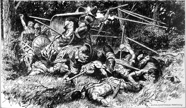 German tribesmen assault Romans amid the ancient trees of the trackless, rugged terrain. A range of low, forested hills in the German Central Uplands was the scene of the disaster.
