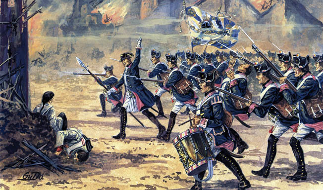 The heavy fighting throughout the day had set parts of Suptitz on fire, but the inferno did not deter Frederick's infantry from storming the village to help win the day. Painting by Gunter Dorn.