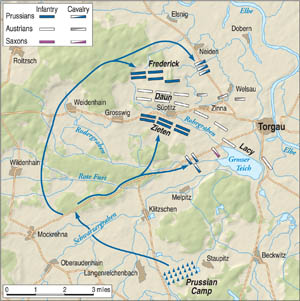 Frederick's first attempt to take the high ground at Torgau failed, but the arrival of General von Zieten's troops ultimately enabled the Prussians to capture Suptitzer Heights.