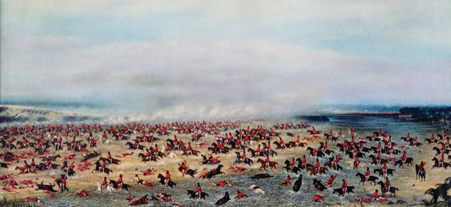 IND146574 Battle of 'Tuyuti', from the paintings depicting the Triple Alliance War, 1866 (oil on canvas) by Lopez, Candido (1840-1902); Museo Historico Nacional, Buenos Aires, Argentina; (add.info.: War of the Triple Alliance (1860-70); Argentina, Uruguay and Brazil against Paraguay;); Index; Argentinian, out of copyright