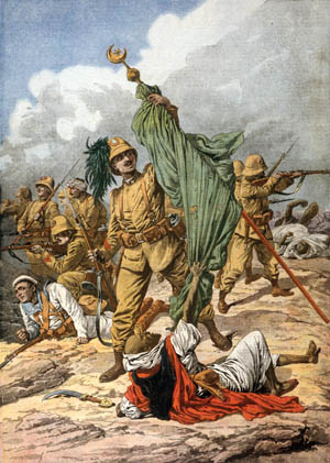 An Italian soldier seizes the green standard of the prophet Muhammad during a melee with Turkish forces in Tripoli in the Italian-Turkish War of 1911-1912. Combined Turkish-Arab forces launched repeated attacks on Italian expeditionary forces in the port city during the first month of the war in an effort to drive them into the sea.
