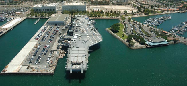 The USS Midway floating  museum in San Diego harbor commemorates the service of sailors and marines in the U.S. Navy.