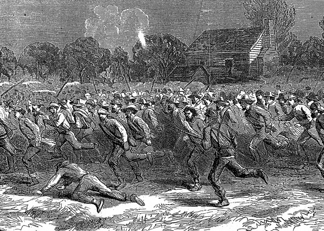 Initially mistaken by Confederate gunners as comrades mounting a counterattack, these Rebel prisoners are rushed to the Union rear. The Hesitation cased a fatal delay in artillery fire.