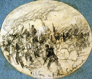 Colonel Emory Upton personally leads his men forward in this sketch by noted Civil War artist Alfred Waud.