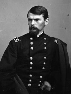"""West Point educated Colonel Emory Upton devised an imaginative, if desperate attack on the Confederate salient known as the """"Mule Shoe""""."""