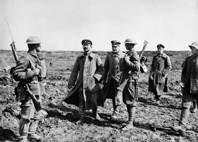 Captured German Officers somhow maintain their swagger after the Canadian taking of Vimy Ridge.