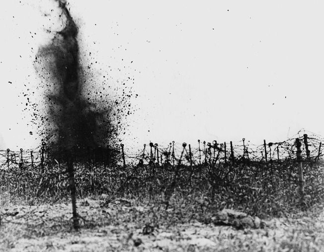 German barb wire is shelled before the Attack on Vimy Ridge.