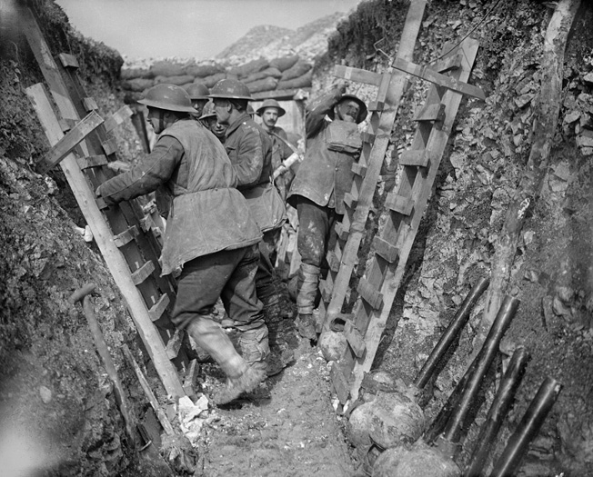 Royal Engineers fix scaffolding ladders in frontline trenches on the day before the start of the Arras offensive in April 1917.